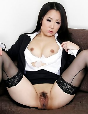 ai mizushima, babes, brunette, hairy, japanese, office, secretary, sexy, solo, stockings,