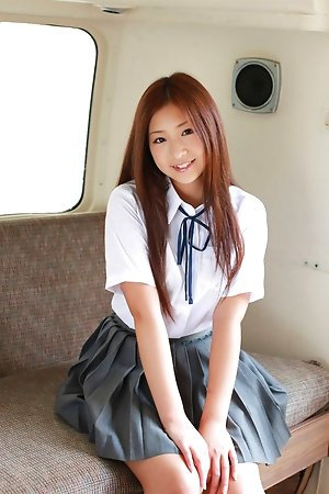 ayaka sayama, beautiful, bikini, nonnude, outdoors, schoolgirls, solo, teen, uniform,